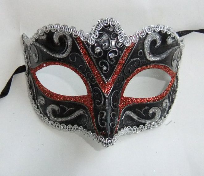 Red & Silver Glitter Petite Mask